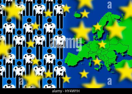 Refugees and European map, symbolic photo refugee's stream to Europe, Fluechtlinge und Europakarte, Symbolfoto Fluechtlingsstrom - Stock Photo