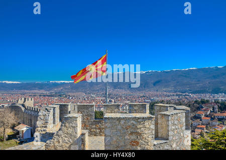 Macedonian flag on Samuel's Fortress with Ohrid in background, Macedonia - Stock Photo