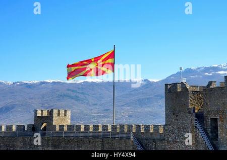 Macedonian flag on Samuel's Fortress, Ohrid, Macedonia - Stock Photo