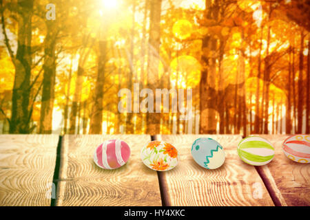 Colorful Easter eggs arranged side by side against autumn scene - Stock Photo