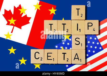 Letters form the names of the free trade agreements TTIP, TISA and CETA, Buchstaben formen die Namen der Freihandelsabkommen - Stock Photo