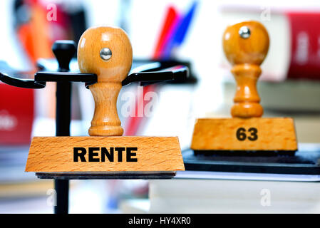 Stamp with the label Pension and 63, Stempel mit der Aufschrift Rente und 63