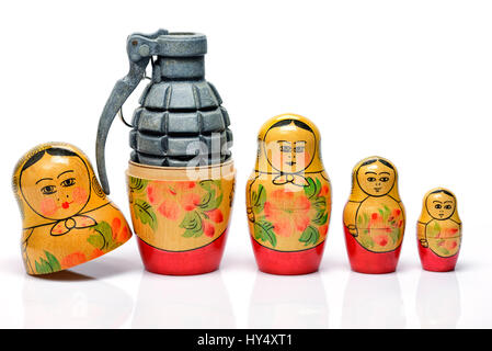 Russian Matroschka with grenade, the Russian military, Russische Matroschka mit Handgranate, russisches Militaer - Stock Photo