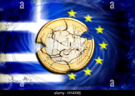 Euro-coin one with tears before Greece and EU flag, symbolic photo Grexit, Ein-Euro-Muenze mit Rissen vor Griechenland - Stock Photo