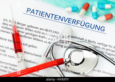 Patient's possession, Patientenverfuegung - Stock Photo