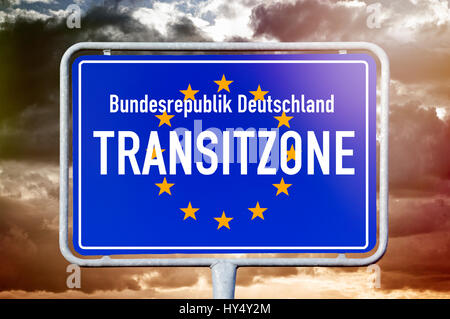 Sign the Federal Republic of Germany transit zone, symbolic photo, Schild Bundesrepublik Deutschland Transitzone, - Stock Photo
