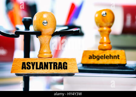 Stamp with the label Asylum application and rejected, Stempel mit der Aufschrift Asylantrag und abgelehnt - Stock Photo