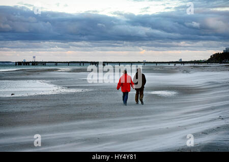 Hurricane low-pressure area Christian on the Baltic Sea in Scharbeutz, Schleswig - Holstein, Germany, Europe, Orkantief - Stock Photo
