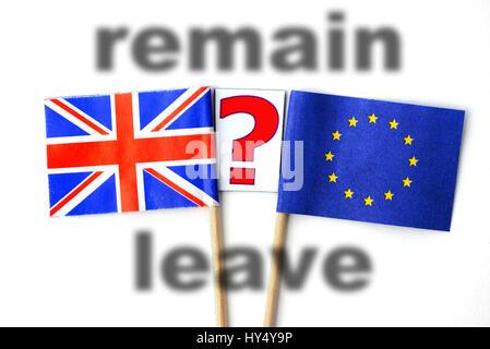 Flag of the EU and Great Britain with question mark, symbolic photo Brexit, Fahne von EU und Gro?britannien mit - Stock Photo