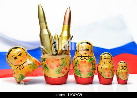 Russian Matroschka with cartridges, the Russian military, Russische Matroschka mit Patronen, russisches Militaer - Stock Photo
