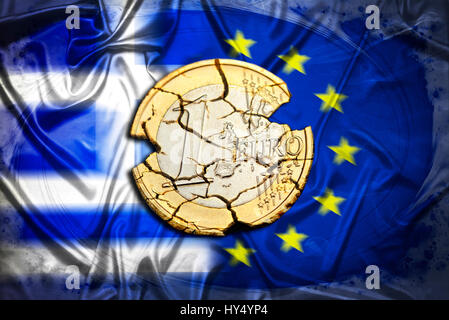 Ruined eurocoin before Greece and EU flag, symbolic photo Grexit, Zerfallene Euromuenze vor Griechenland- und EU - Stock Photo