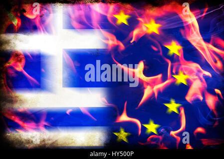 Greece and EU flag in flames, symbolic photo Grexit, Griechenland- und EU-Fahne in Flammen, Symbolfoto Grexit - Stock Photo