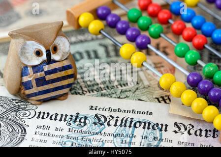 Greek owl on German inflation money, Greek Reparationsforderungen, Griechische Eule auf deutschem Inflationsgeld, - Stock Photo