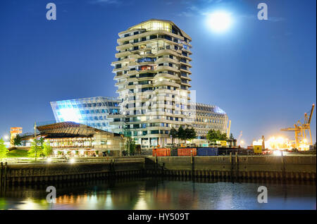 Marco-Polo-Tower and Unileverzentrale in the harbour city of Hamburg, Germany, Europe, Marco-Polo-Tower und Unileverzentrale - Stock Photo