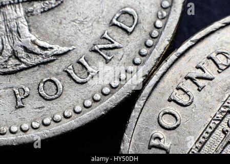British one-pound coins, Britische Ein-Pfund-Muenzen - Stock Photo