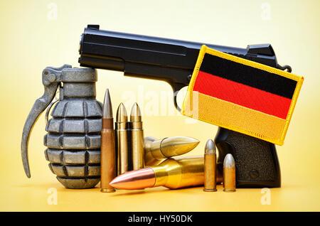 Weapons and Germany flag, symbolic photo German deliveries of arms, Waffen und Deutschlandfahne, Symbolfoto deutsche - Stock Photo