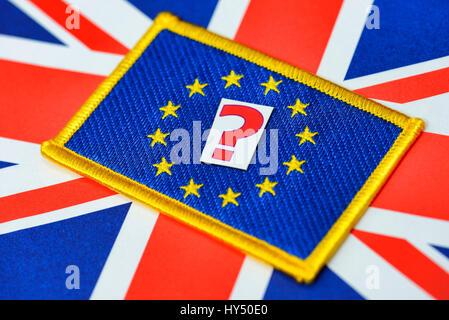 Flag of the EU and Great Britain with question mark, symbolic photo EU referendum, Fahne von EU und Gro?britannien - Stock Photo