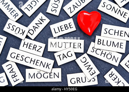 Heart and magnet words, symbolic photo Mother's Day, Herz und Magnetwoerter, Symbolfoto Muttertag - Stock Photo