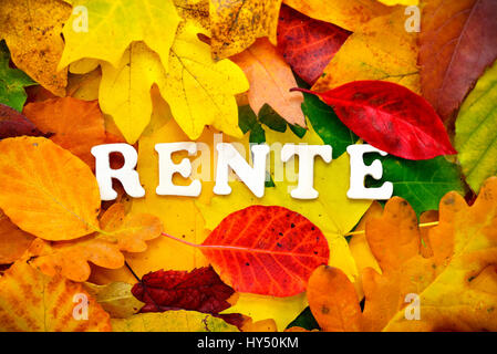 Stroke pension on autumn sheets, Schriftzug Rente auf Herbstblaettern