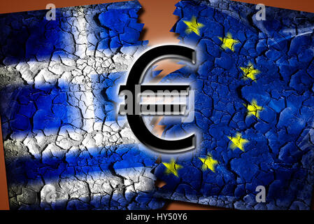 Greece and EU flag with tears and eurosigns, symbolic photo Grexit, Griechenland- und EU-Fahne mit Rissen und Eurozeichen, - Stock Photo