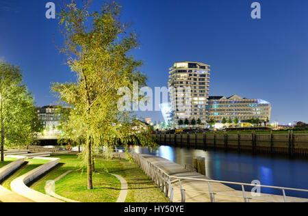 Dalmannkaitreppen, Marco-Polo-Tower, Unileverzentrale in the harbour city of Hamburg, Germany, Europe, Unileverzentrale - Stock Photo