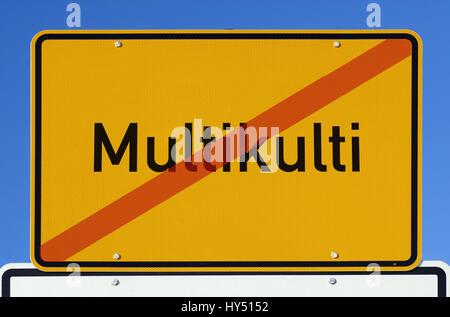 Local sign with crossed out stroke multiculturalism, Ortsschild mit durchgestrichenem Schriftzug Multikulti - Stock Photo