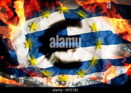 Greek flag with flames and eurosigns, symbolic photo debt quarrel, Griechische Fahne mit Flammen und Eurozeichen, - Stock Photo