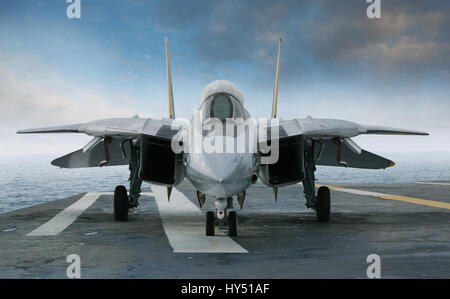 An F-14 jet fighter on an aircraft carrier deck beneath blue sky and clouds viewed from front - Stock Photo