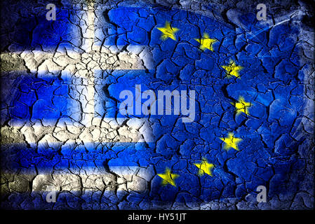 Greece and EU flag with tears, symbolic photo Grexit, Griechenland- und EU-Fahne mit Rissen, Symbolfoto Grexit - Stock Photo
