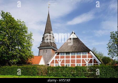 Church Saint Johannis in Curslack, 4 and marshy land, Hamburg, Germany, Europe, Kirche St. Johannis in Curslack, - Stock Photo