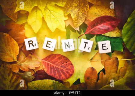 Letter cubes form the stroke pension on autumn foliage, Buchstabenwuerfel bilden den Schriftzug Rente auf Herbstlaub