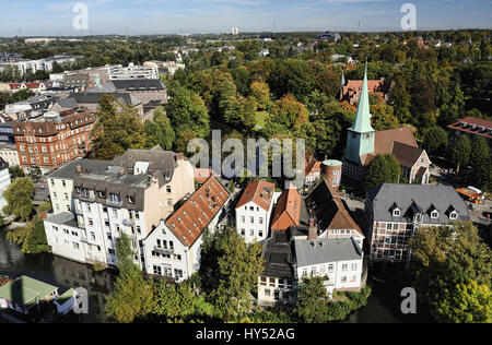 Part of town mountain village with the Saint Peter and Pauli church in Hamburg, Germany, Europe, Stadtteil Bergedorf - Stock Photo