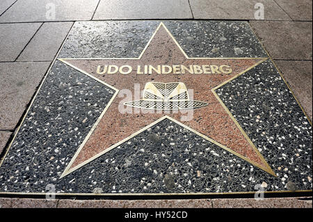 Star in the style of Hollywood boulevard for Udo Lindenberg on the Reeperbahn in Saint Pauli, Hamburg, Germany, - Stock Photo