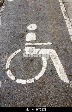 Parking space for the disabled, Behindertenparkplatz - Stock Photo