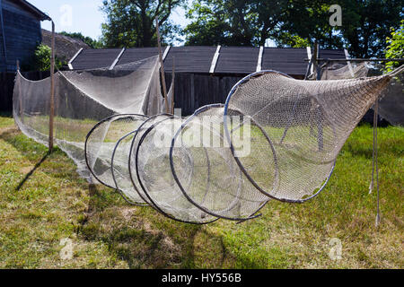 Fishing nets in open air museum in Kluki, Pomerania, Poland - Stock Photo