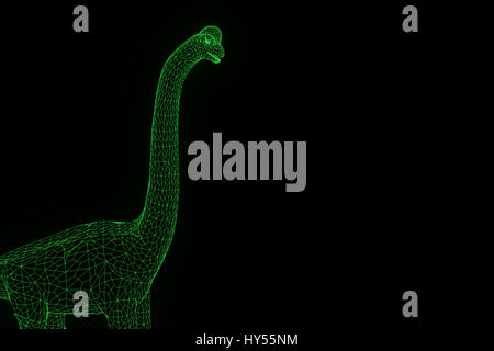 Dinosaur Brachiosaurus in Hologram Wireframe Style. Nice 3D Rendering - Stock Photo