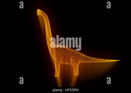 Dinosaur Brachiosaurus in Hologram Wireframe Style. Nice 3D Rendering - Stock Photo