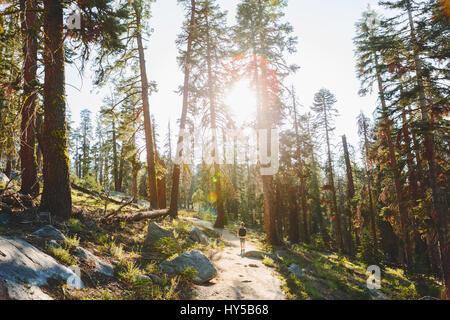 USA, California, Yosemite National Park, Man hiking at Taft Point Trail - Stock Photo