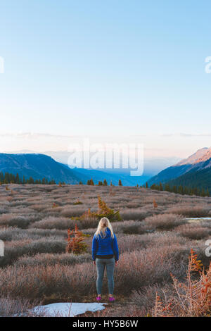 USA, Colorado, Guanella Pass, Woman looking at mountains - Stock Photo