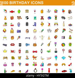 100 birthday icons set, cartoon style - Stock Photo