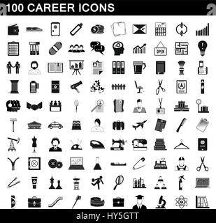 100 career icons set, simple style - Stock Photo