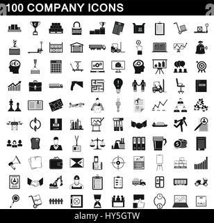 100 company icons set, simple style - Stock Photo