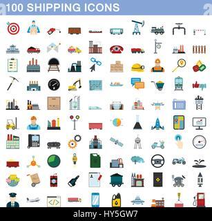 100 shipping icons set, flat style - Stock Photo
