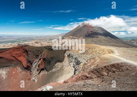 Red Crater, Mount Ngauruhoe behind, active volcano, volcanic landscape, Tongariro Alpine Crossing, Tongariro National - Stock Photo