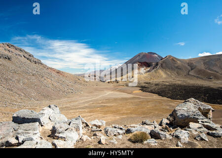 Mount Tongariro and Mount Ngauruhoe, active volcanoes, volcanic landscape, Tongariro Alpine Crossing, Tongariro - Stock Photo