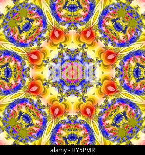 Highly detailed colorful digital fractal image in mandala effect design, Suitable for tiling and repeat pattern - Stock Photo