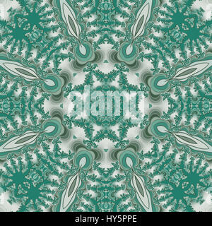 Highly detailed digital fractal image in mandala effect design of turquoise blue against white background. Suitable - Stock Photo
