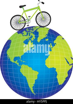 colorful silhouette of bicycle over the world map - Stock Photo