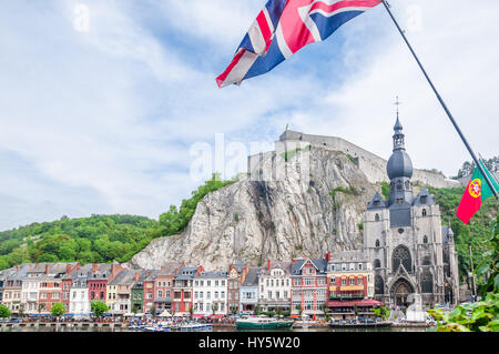 View of citadel of Dinant in Belgium - Stock Photo