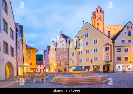 Fussen town at night in Bavaria, Germany. - Stock Photo